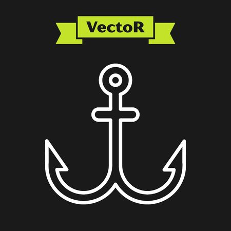 White line Anchor icon isolated on black background. Vector Illustration