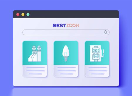Set Light bulb, Nuclear power plant and Electrical panel icon. Vector
