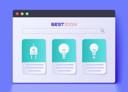 Set Light bulb, Electric plug and Light bulb with concept of idea icon. Vector