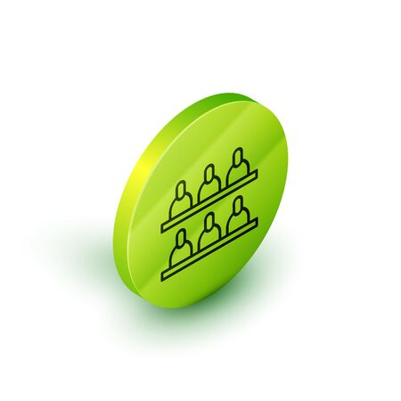 Isometric line Jurors icon isolated on white background. Green circle button. Vector Illustration