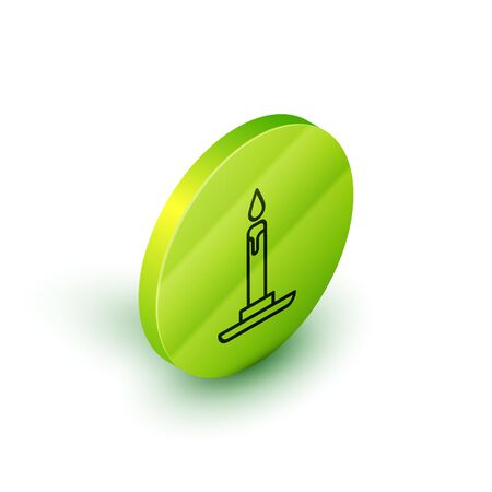 Isometric line Burning candle in candlestick icon isolated on white background. Cylindrical candle stick with burning flame. Green circle button. Vector Illustration Stock Illustratie