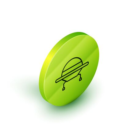 Isometric line UFO flying spaceship icon isolated on white background. Flying saucer. Alien space ship. Futuristic unknown flying object. Green circle button. Vector Illustration