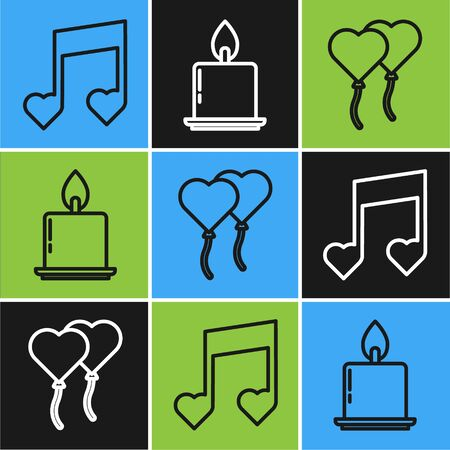Set line Music note, tone with hearts, Balloons in form of heart and Burning candle icon. Vector Stock Illustratie
