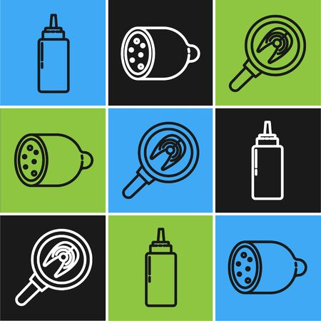 Set line Sauce bottle, Fish steak in frying pan and Salami sausage icon. Vector