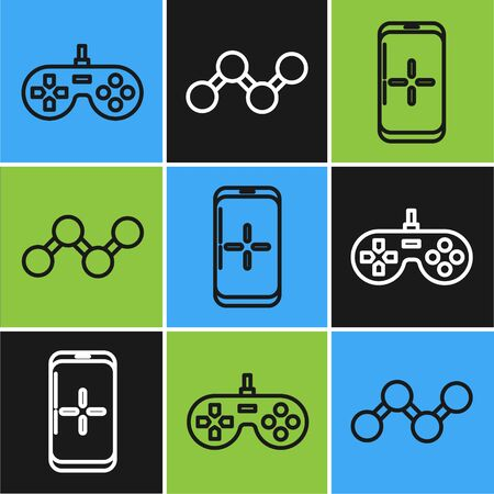 Set line Gamepad, Smartphone and playing in game and Share icon. Vector Ilustración de vector