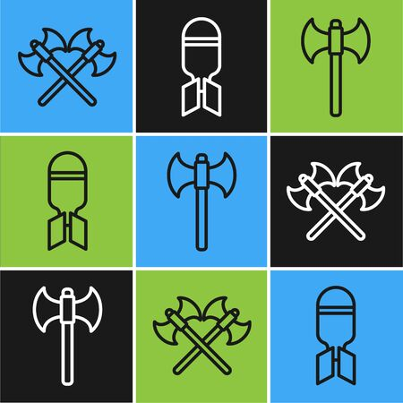 Set line Crossed medieval axes, Medieval axe and Aviation bomb icon. Vector