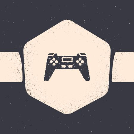 Grunge Gamepad icon isolated on grey background. Game controller. Monochrome vintage drawing. Vector Illustration
