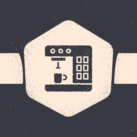 Grunge Coffee machine icon isolated on grey background. Monochrome vintage drawing. Vector Illustration 向量圖像