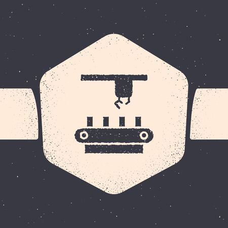 Grunge Factory conveyor system belt icon isolated on grey background. Robot industry concept. Monochrome vintage drawing. Vector Illustration