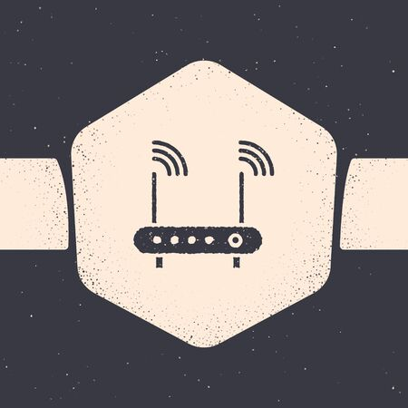 Grunge Router and wireless signal symbol icon isolated on grey background. Wireless modem router. Computer technology internet. Monochrome vintage drawing. Vector Illustration