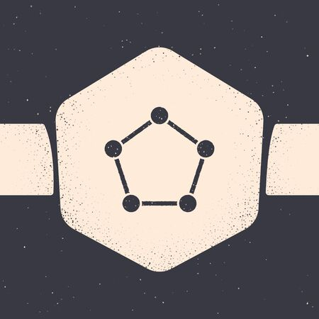 Grunge Geometric figure Pentagonal prism icon isolated on grey background. Abstract shape. Geometric ornament. Monochrome vintage drawing. Vector Illustration