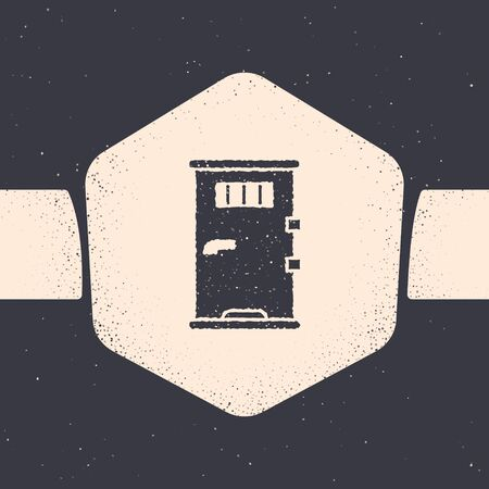 Grunge Prison cell door with grill window icon isolated on grey background. Monochrome vintage drawing. Vector Illustration