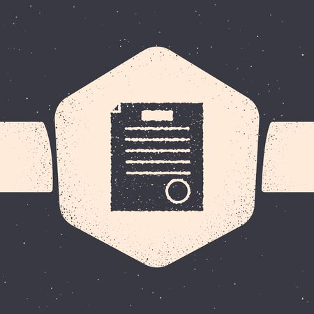 Grunge The arrest warrant icon isolated on grey background. Warrant, police report, subpoena. Justice concept. Monochrome vintage drawing. Vector Illustration