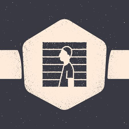 Grunge Suspect criminal icon isolated on grey background. The criminal in prison, suspected near the board. Monochrome vintage drawing. Vector Illustration