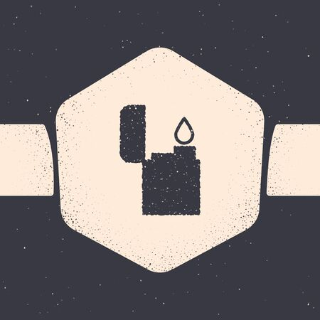 Grunge Lighter icon isolated on grey background. Monochrome vintage drawing. Vector Illustration