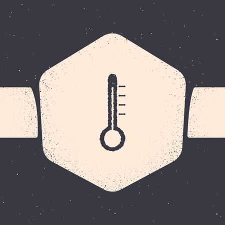 Grunge Meteorology thermometer measuring icon isolated on grey background. Thermometer equipment showing hot or cold weather. Monochrome vintage drawing. Vector Illustration