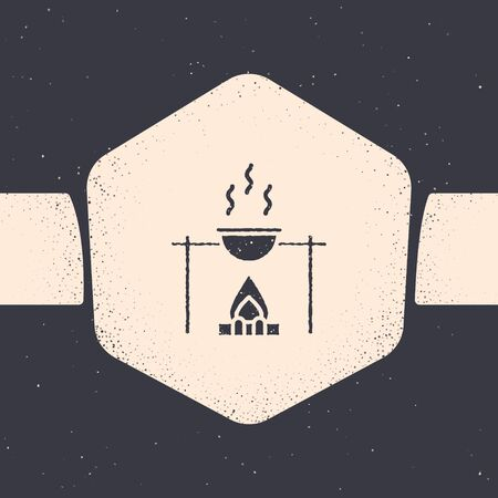 Grunge Campfire and pot icon isolated on grey background. Fire camping cooking in cauldron on firewood and flame. Monochrome vintage drawing. Vector Illustration