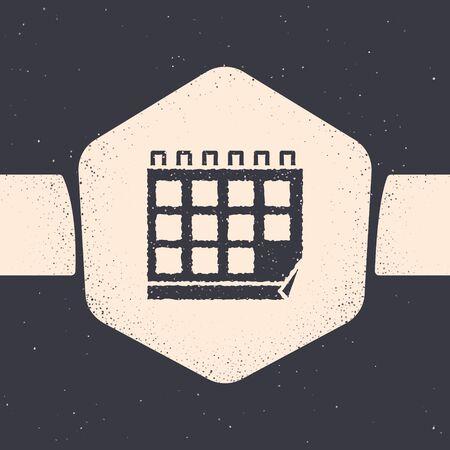 Grunge Calendar icon isolated on grey background. Event reminder symbol. Monochrome vintage drawing. Vector Illustration