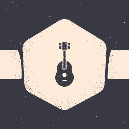 Grunge Guitar icon isolated on grey background. Acoustic guitar. String musical instrument. Monochrome vintage drawing. Vector Illustration