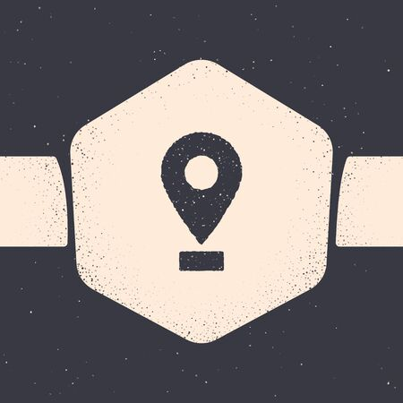 Grunge Map pin icon isolated on grey background. Navigation, pointer, location, map, gps, direction, place, compass, search concept. Monochrome vintage drawing. Vector Illustration  イラスト・ベクター素材