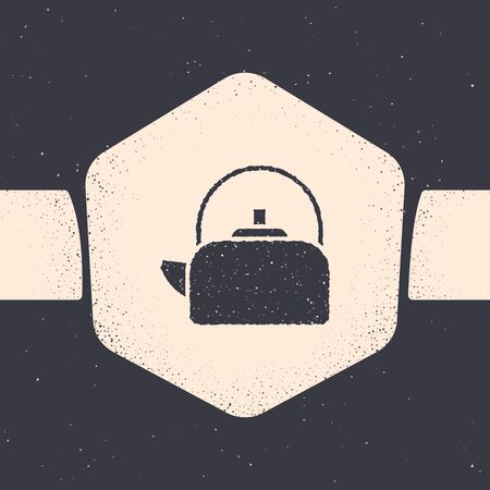 Grunge Kettle with handle icon isolated on grey background. Teapot icon. Monochrome vintage drawing. Vector Illustration