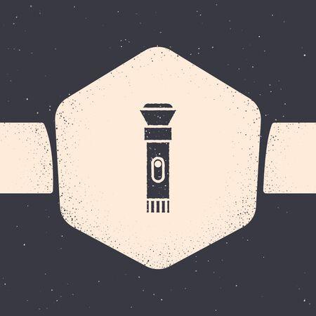 Grunge Flashlight icon isolated on grey background. Monochrome vintage drawing. Vector Illustration  イラスト・ベクター素材