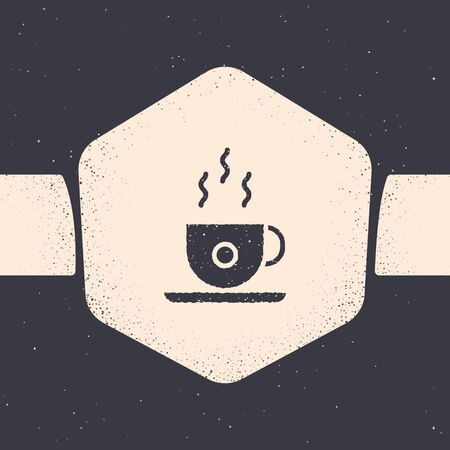 Grunge Coffee cup icon isolated on grey background. Tea cup. Hot drink coffee. Monochrome vintage drawing. Vector Illustration
