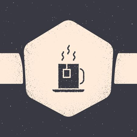 Grunge Cup of tea with tea bag icon isolated on grey background. Monochrome vintage drawing. Vector Illustration 向量圖像