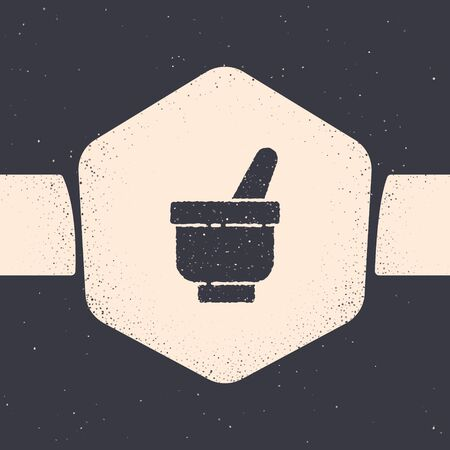 Grunge Magic mortar and pestle icon isolated on grey background. Monochrome vintage drawing. Vector Illustration