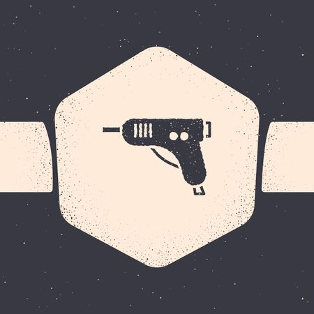 Grunge Electric hot glue gun icon isolated on grey background. Hot pistol glue. Hot repair work appliance silicone. Monochrome vintage drawing. Vector Illustration