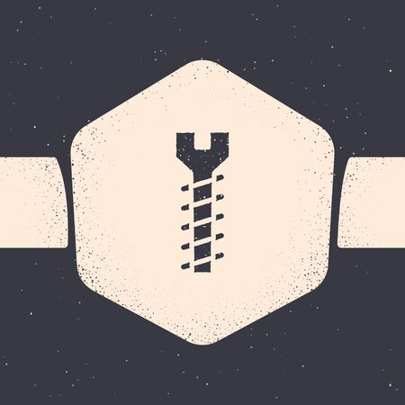 Grunge Metallic screw icon isolated on grey background. Monochrome vintage drawing. Vector Illustration  イラスト・ベクター素材