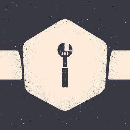 Grunge Adjustable wrench icon isolated on grey background. Monochrome vintage drawing. Vector Illustration Illustration