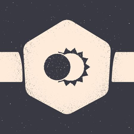 Grunge Eclipse of the sun icon isolated on grey background. Total sonar eclipse. Monochrome vintage drawing. Vector Illustration 向量圖像