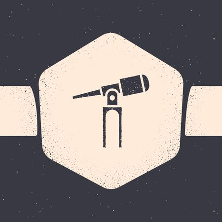 Grunge Telescope icon isolated on grey background. Scientific tool. Education and astronomy element, spyglass and study stars. Monochrome vintage drawing. Vector Illustration  イラスト・ベクター素材