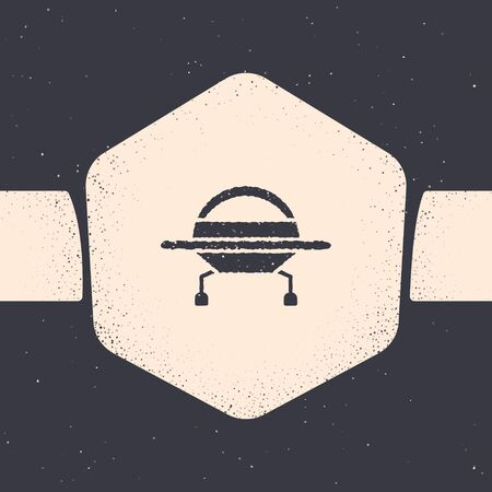 Grunge UFO flying spaceship icon isolated on grey background. Flying saucer. Alien space ship. Futuristic unknown flying object. Monochrome vintage drawing. Vector Illustration