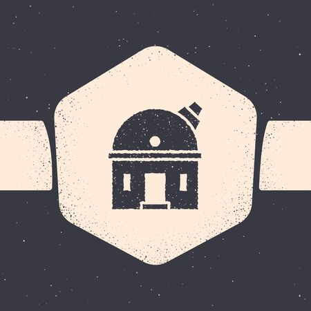 Grunge Astronomical observatory icon isolated on grey background. Observatory with a telescope. Scientific institution. Monochrome vintage drawing. Vector Illustration
