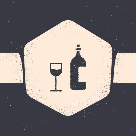 Grunge Wine bottle with wine glass icon isolated on grey background. Happy Easter. Monochrome vintage drawing. Vector Illustration 向量圖像