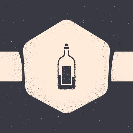 Grunge Bottle of wine icon isolated on grey background. Monochrome vintage drawing. Vector Illustration 版權商用圖片 - 142083740