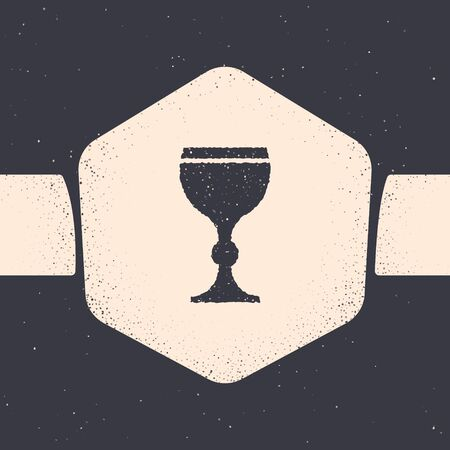 Grunge Wine glass icon isolated on grey background. Wineglass icon. Goblet symbol. Glassware sign. Happy Easter. Monochrome vintage drawing. Vector Illustration