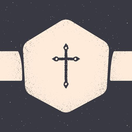 Grunge Christian cross icon isolated on grey background. Church cross. Monochrome vintage drawing. Vector Illustration