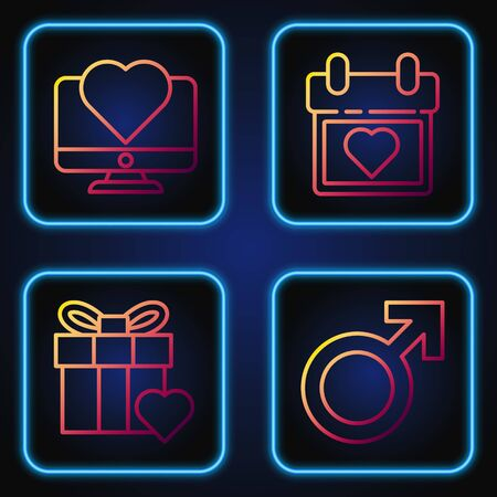 Set line Male gender symbol, Gift box and heart, Computer monitor with heart and Calendar with heart. Gradient color icons. Vector Standard-Bild - 142083170