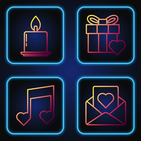 Set line Envelope with heart, Music note, tone with hearts, Burning candle and Gift box and heart. Gradient color icons. Vector