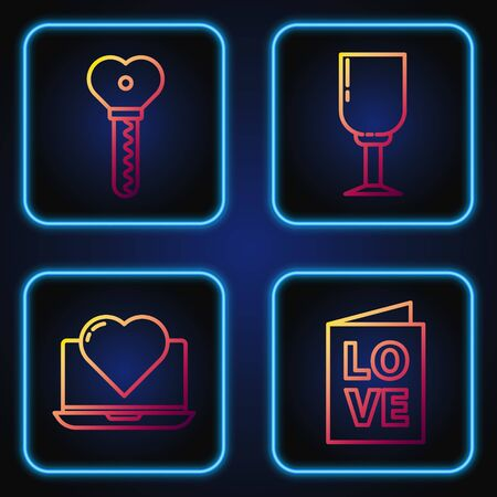 Set line Valentines day party flyer, Laptop with heart, Key in heart shape and Wine glass. Gradient color icons. Vector 版權商用圖片 - 142083241