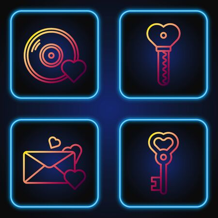 Set line Key in heart shape, Envelope with heart, Romantic music and Key in heart shape. Gradient color icons. Vector