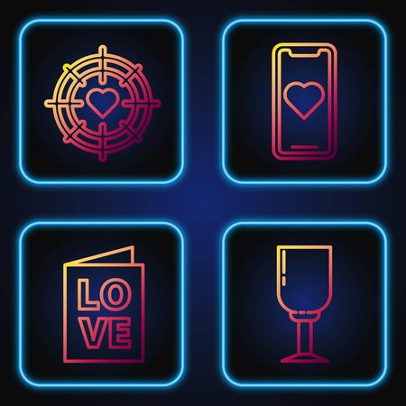 Set line Wine glass, Valentines day party flyer, Heart in the center of darts target aim and Mobile phone with heart. Gradient color icons. Vector