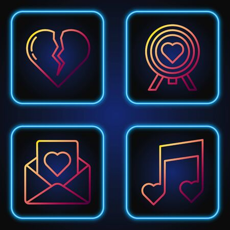 Set line Music note, tone with hearts, Envelope with heart, Broken heart or divorce and Heart in the center of darts target aim. Gradient color icons. Vector Иллюстрация