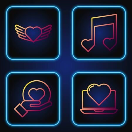 Set line Laptop with heart, Heart on hand, Heart with wings and Music note, tone with hearts. Gradient color icons. Vector