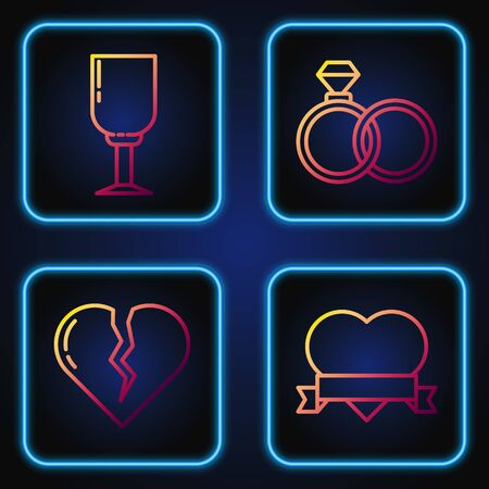 Set line Heart and ribbon, Broken heart or divorce, Wine glass and Wedding rings. Gradient color icons. Vector
