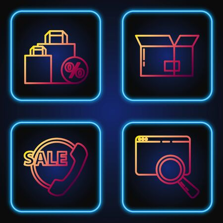 Set line Search in a browser window, Telephone 24 hours support, Shoping bag with discount and Carton cardboard box. Gradient color icons. Vector  イラスト・ベクター素材