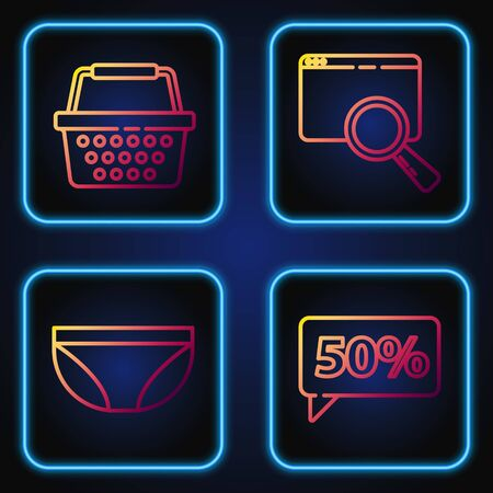 Set line Fifty discount percent tag, Underwear, Shopping basket and Search in a browser. Gradient color icons. Vector 版權商用圖片 - 142083872